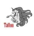 Rearing up unicorn with twisted horn icon vector image vector image