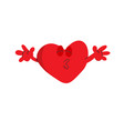 red heart shape want to kiss flat design vector image vector image