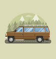 road trip scene with cartoon family pickup vector image vector image