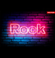rock - glowing luminous retro neon style sign vector image