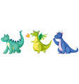 set of cute dinosaur character vector image