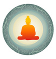 silhouette of Buddha in a circle vector image vector image