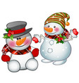 two smiling snowman wearing a striped cap and vector image vector image