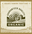 vintage organic guaranteed quality label vector image