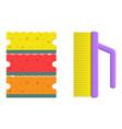 washing sponge and brush vector image