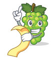 with menu green grapes mascot cartoon vector image vector image