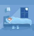 woman sleeping at night in her bed vector image vector image