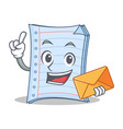 with envelope notebook character cartoon style vector image