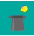 Magic black hat with yellow flying bird Flat desig vector image