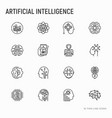 artificial intelligence thin line icons set vector image vector image