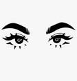 beautiful cute female eyes in cartoon style vector image vector image