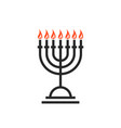 black hanukkah candles thin line icon vector image