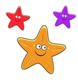 Cartoon yellow red and violet starfish characters vector image
