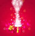 Christmas background with open magic gift box vector image vector image