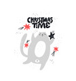 christmas time hand drawn lettering vector image