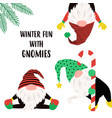 christmas winter card with funny gnomes vector image
