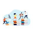 climbing books peoples in library going top vector image