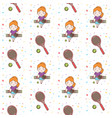 cute girl playing tennis seamless pattern vector image vector image