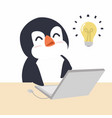 cute penguin with notebook vector image vector image