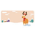 deer cartoon animal reindeer in santa claus hat vector image