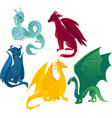 flat colored dragons set vector image