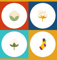 flat icon cotton set of flower cotton hosiery vector image vector image