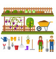 gardening set rural landscape with garden vector image vector image