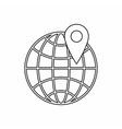 Globe and map pointe icon outline style vector image vector image