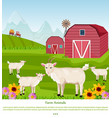 goats at the farm red village house green vector image vector image