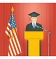 Graduation ceremony speech by a man graduate at vector image vector image