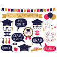 graduation party photo booth props set vector image vector image