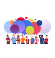 group of diverse people with colorful chat bubbles vector image vector image