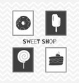 Hand drawn silhouettes sweet shop posters vector image