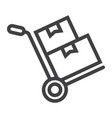 Hand truck with cardboard boxes line icon