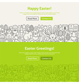 happy easter line art web banners set
