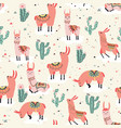 happy lama seamless pattern vector image vector image