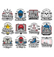 ice hockey sport icons with sporting items rink vector image