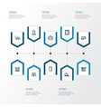 industry icons line style set with door house vector image vector image