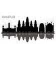 kanpur india city skyline black and white vector image vector image