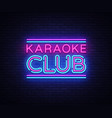 karaoke club neon sign karaoke design vector image