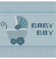 knitted baby boy shower announcement card vector image vector image
