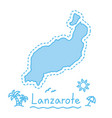 lanzarote island map isolated cartography concept vector image vector image