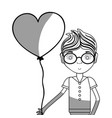 line man with glasses and heart balloon in the vector image vector image