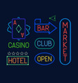 neon signs set colorful electric pointers vector image vector image