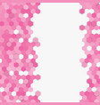 pink random hexagon mosaic or tiles background vector image vector image