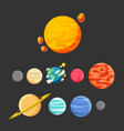 planet icon set design black background ima vector image vector image