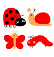 Red insect icon set butterfly caterpillar ladybug
