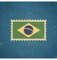 Retro Brazil Flag Postage Stamp vector image