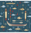 seamless pattern indian fishing vector image vector image