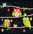 set of christmas owls vector image